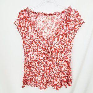 ANTHROPOLOGIE Maeve Floral Knit Ruffle Blouse EUC